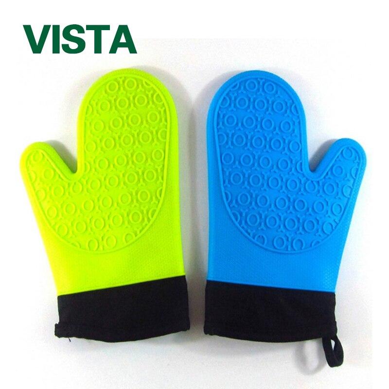 Красочные 1/pc легко мыть термостойкая силиконовая перчатка Пособия по кулинарии печь для выпечки Пот Держатель рукавицей Кухня Инструменты... ...