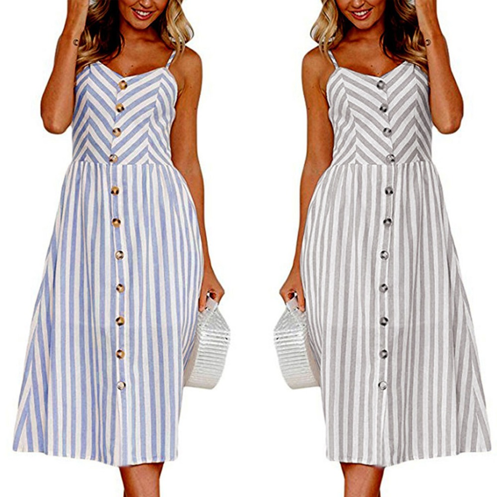 2018 NEW Sexy Casual Summer Dress Boho Beach Pockets Sundress Elegant Daily dess