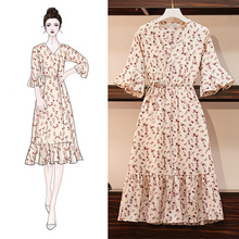 2019 New Arrival Shudaji Vintage A-line Floral Short Draped Natural V-neck Summer Dresses