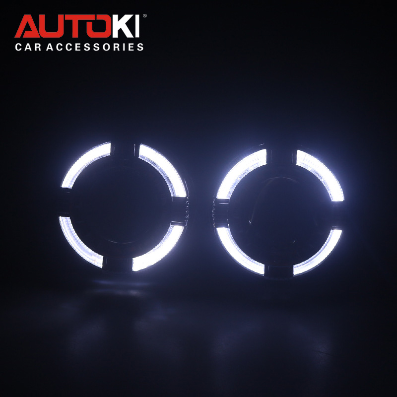 Autoki 2018 update X Free Led Guide Angel Eyes with shrouds Car Styling DRL Halo Ring