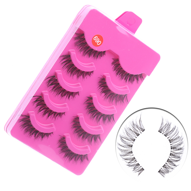 5 Pairs Soft Handmade Stunning Fake Eye lashes  Messy Natural Cross False Eyelashes Eye Makeup Tools Longlasting  Lashes