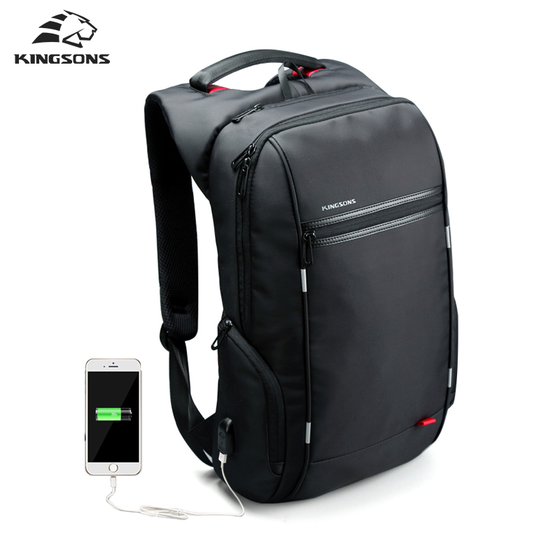 Kingsons Brand External USB Charge Computer Bag Anti-theft Notebook Backpack 15/17 inch Waterproof Laptop Backpack for Men
