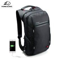 Kingsons de la marca bolso de la computadora de carga usb externo antirrobo mochila portátil de 15/17 pulgadas mochila portátil impermeable para los hombres