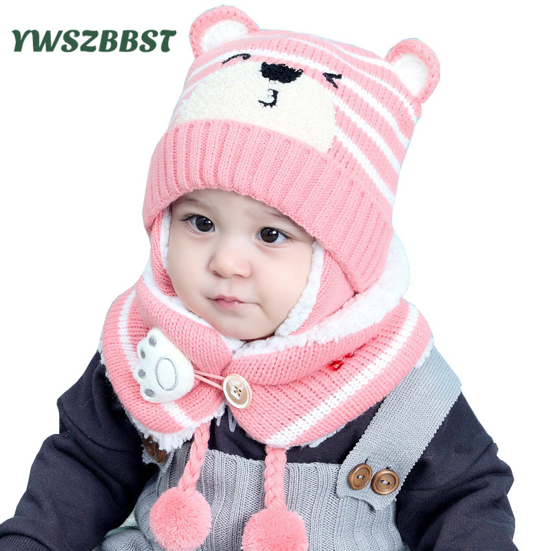 Winter Baby Knit Hat Cute Bear Print Boy Girl Kids Warm Hat Cap + Scarf Ring for Child 6 to 36 Months Baby Hat Scarf set 2pcs children kids winter hat scarf set double raccoon fur ball hat pom pom beanies baby girls warm cap scarf set hat for baby girl