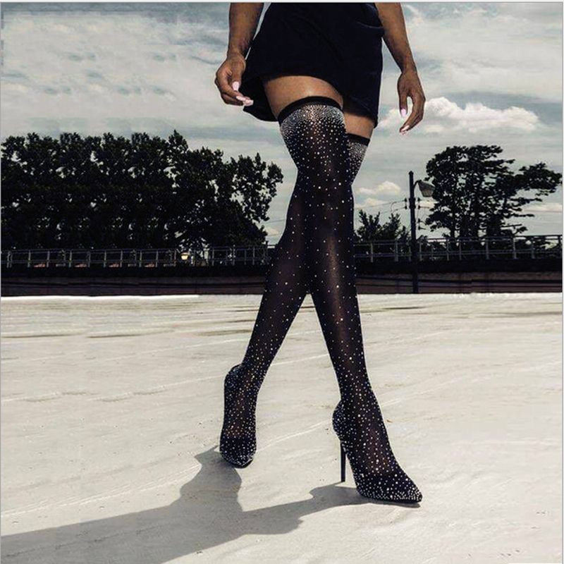 2019 Fashion Runway Crystal Stretch Fabric Sock shoes Pointy Toe Over-the-Knee Heel Thigh High Pointed Toe Woman shoe size 34-432019 Fashion Runway Crystal Stretch Fabric Sock shoes Pointy Toe Over-the-Knee Heel Thigh High Pointed Toe Woman shoe size 34-43
