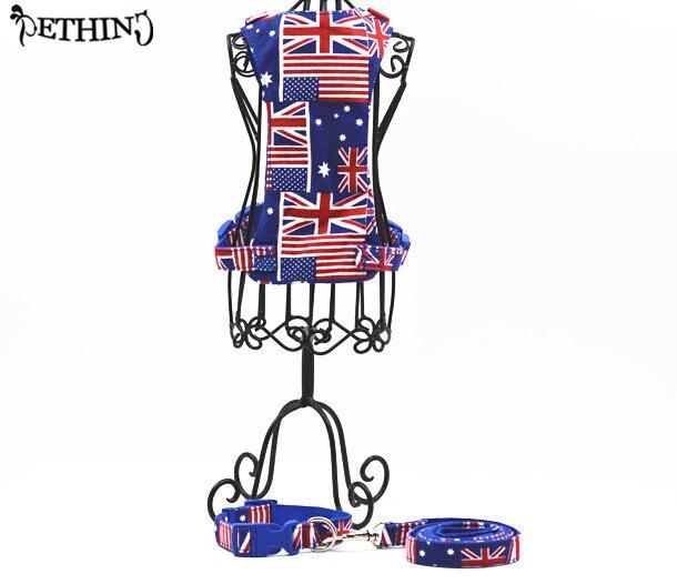 S L flag printing Nylon dog collar leash harness breathable soft pet dog harness +collar+leash big dog collar adjustable