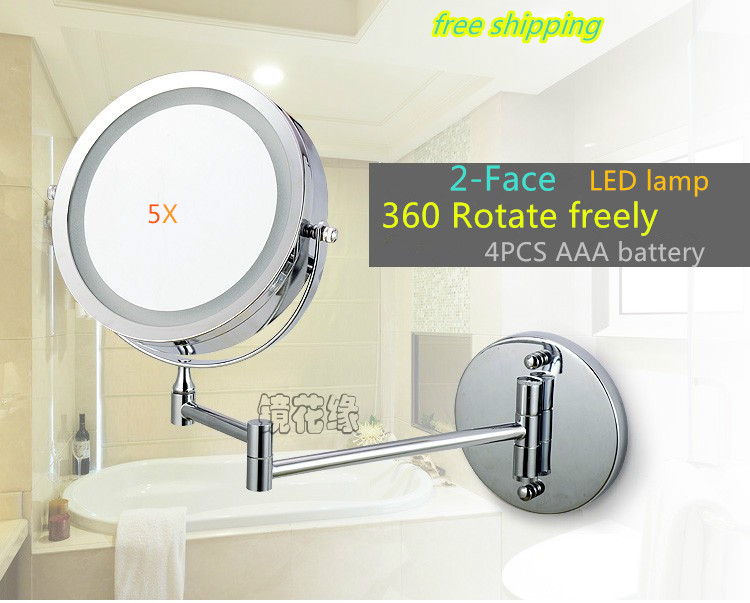 7 Inch Dual Arm Extend Bathroom Mirror With Battery Led Light 2 Face Wall Hanging Makeup Mirror Bath 5 X Magnification