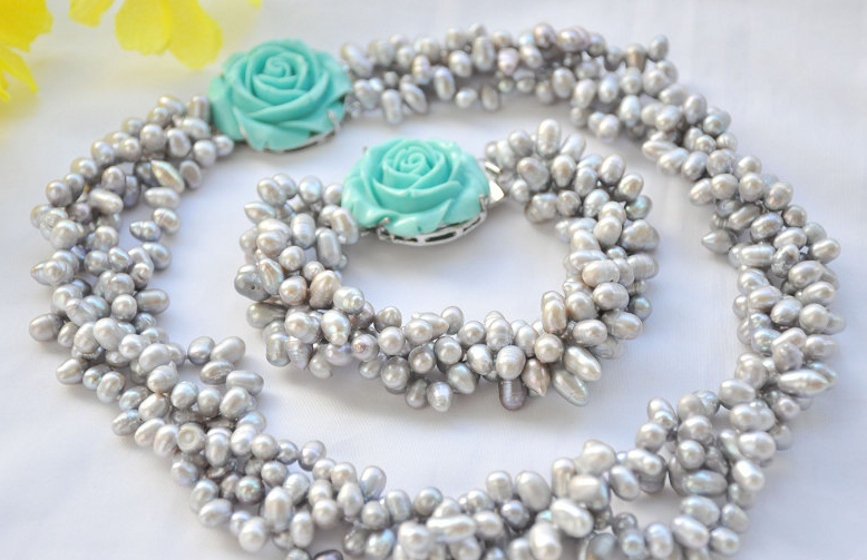 Wedding women Jewelry Set 4 Rows 8-10mm Light Gray Real Pearl Necklace Bracelet Green Rose Clasp Natural Freshwater PearlWedding women Jewelry Set 4 Rows 8-10mm Light Gray Real Pearl Necklace Bracelet Green Rose Clasp Natural Freshwater Pearl