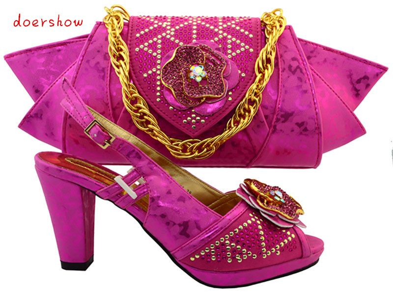 doershow Matching Shoe and Bag Set Women Shoes and Bag To Match for Parties Matching Shoes and Bags for African Wedding TMM1-30 red african wedding shoe and bag sets women shoe and bag to match for parties elegant italian women shoe and bag set