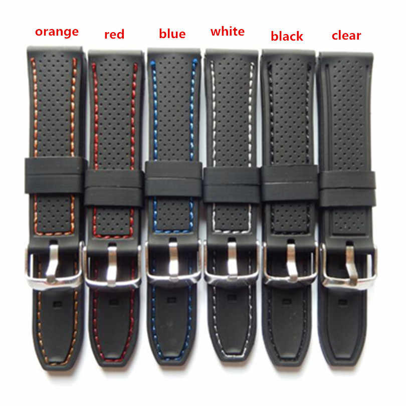 22mm Soft Military Sport Bracelet High Quality Waterproof Anti-Sweat Watch Band Outdoor  Silicone Pin Buckle Strap