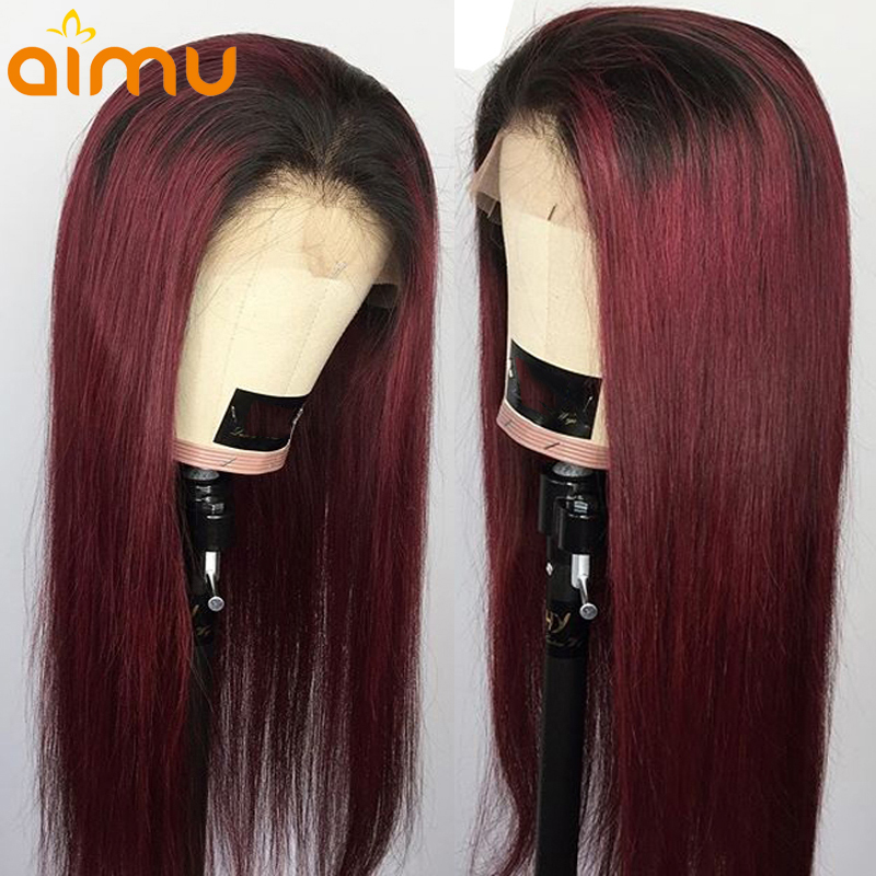 T1B 99J Burgundy Ombre Color 360 Lace Frontal Real Straight Human Hair Wig For Women 180% Density Remy Brazilian PrePlucked Aimu