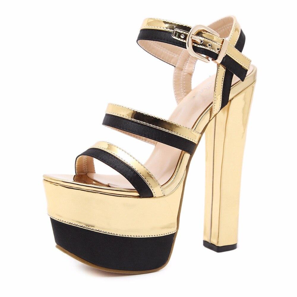 Femmes Chaussures forme 15 Hauts Discothèque Sangle Mode Boucle 2018 Sandales D'été Arden Sexy Cm Or Plate Talons Furtado Gold wnW1fgqv