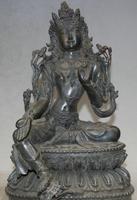 Details about 11 Tibetan Mahayana Purple Bronze Seat Green Tara Enlightenment Goddess Statue