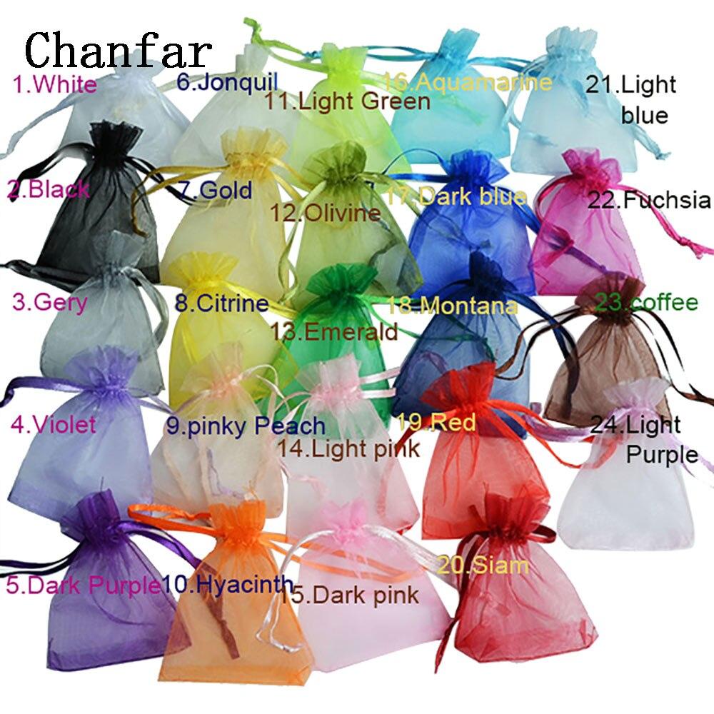 50 шт. 7x9x12 10x15 13x18 см органза сумки ювелирные изделия Упаковочные пакеты свадьба украшения Drawable пакеты подарочные мешочки 24 цвета