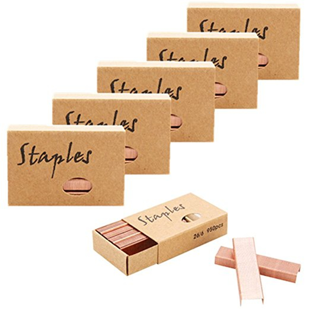 26/6 Rose Gold Standard Staples 12mm 950/set 6 Sets/Pack 5700 Count For Office Finance Universal Staples Stationery Supplies