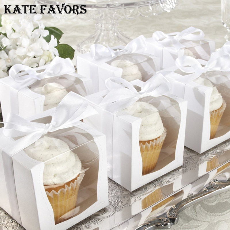 0483c23e63e4 White Paper Single Cupcake Box With PVC Window Tow Muffin Box Party Wedding  Favor Boxes Paper Gift Box And Packaging Containers