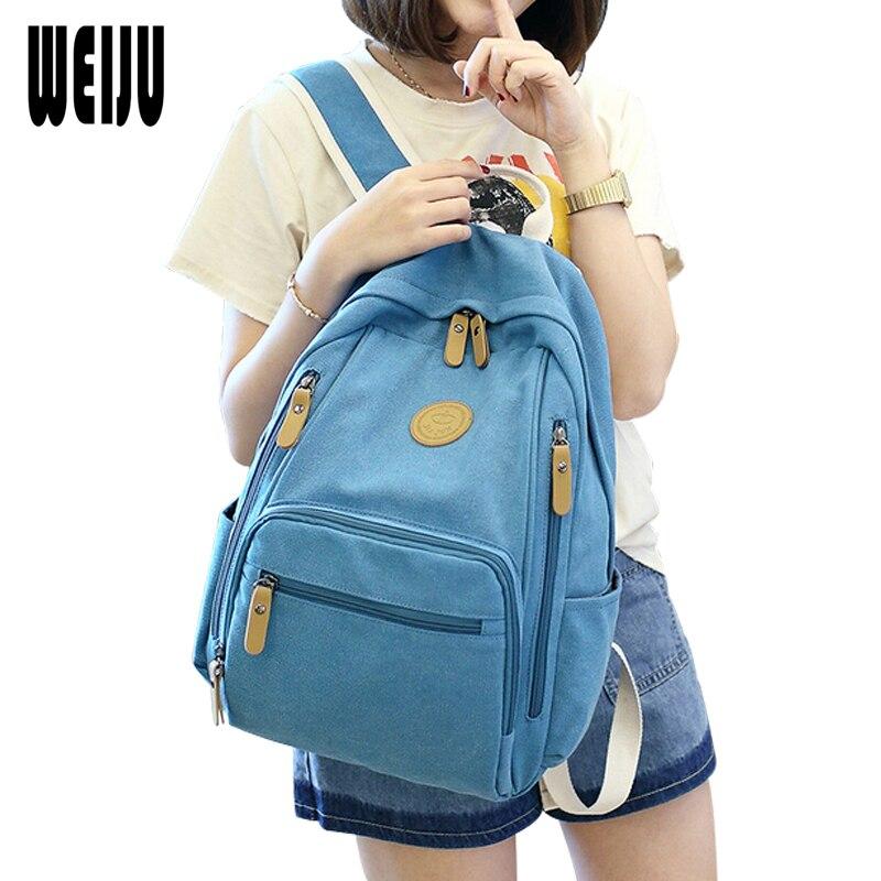 WEIJU Women Backpacks Mochilas Mujer 2017 New Casual Travel Bagpack Multifunction Canvas School Backpack Female рюкзаки zipit рюкзак shell backpacks