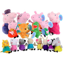 лучшая цена Peppa Pig George Family friend Stuffed Plush Toys 19/30cm pink Pig Family Party Dolls For Girls Gifts Animal Plush Toys