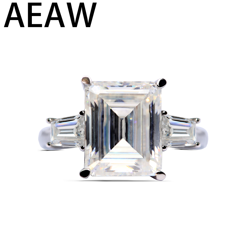 18k White Gold 5ct 9x11mm G Color Emerald Side Trapezeoid  Moissanite Baguette Lab Diamond Ring For Women Engagement For Women18k White Gold 5ct 9x11mm G Color Emerald Side Trapezeoid  Moissanite Baguette Lab Diamond Ring For Women Engagement For Women