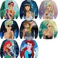Mujeres hombres 3D de dibujos animados princesa cenicienta / de la belleza / Elsa / blancanieves / Jasmine / Aurora / Ariel Crewneck sudaderas tops
