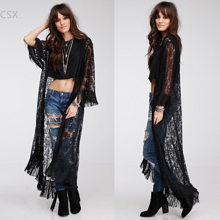 Floor Length Lace Cardigan >> Alishebuy Summer 2015 New Arrival Long Perspective ...