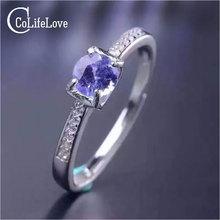 Простой дизайн, кольцо с драгоценным камнем, 5 мм, Круглый, блестящая огранка, натуральный Танзанит, серебряное кольцо, твердое, 925 серебро, танзанит, обручальное кольцо