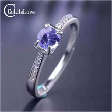 Simple design gemstone ring 5mm round brilliant cut natural tanzanite silver ring solid 925 silver tanzanite wedding ring