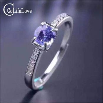 Simple design gemstone ring 5mm round brilliant cut natural tanzanite silver ring solid 925 silver tanzanite wedding ring