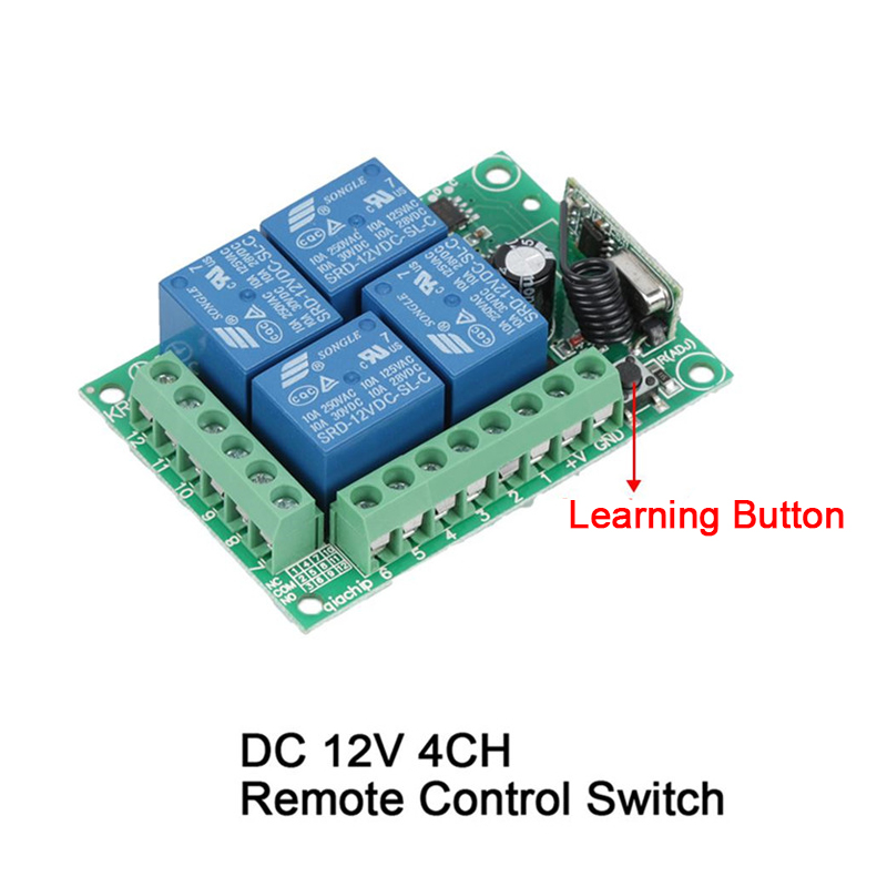 Image 5 - 433MHz interruptor de Control remoto inalámbrico Universal DC12V 4CH módulo receptor de relé + 4 canales RF remoto 433 Mhz transmisor DIYcontroles remotos   -