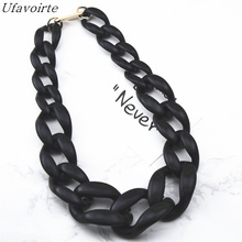 Ufavoirte 2018 New Fashion Gift High Quality Matte Acrylic Necklace Bib Statement Necklaces Colour Black White For Women Chain