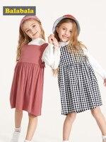 905e16da3b5c9f Balabala Kids Girls 2 Piece Solid Trumpet Sleeve Tops T Shirt Checked Loose  Fit Bib Overalls