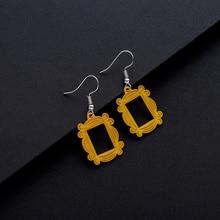 Amigos TV Show pendientes grandes mirilla marco amarillo pendiente clásico joyería para mejor amiga/regalo de Día de San Valentín mujer pendiente