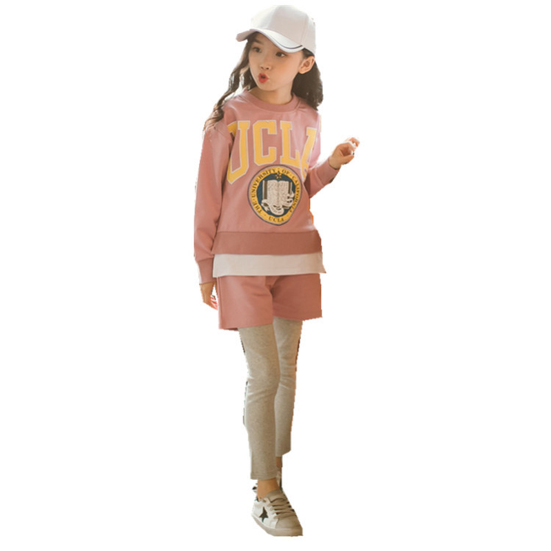 Baby Girl Clothes Children's Wear Long Sleeves for T-shirt+ Pants Letter Pattern Kids Fashion Girl Sportswear Suit 3-14Yrs CA325