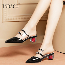 Slides Women Summer Shoes Pointed Toe Leather Slippers Thick Heel Fashion Rivets Transparent Slippers цены онлайн