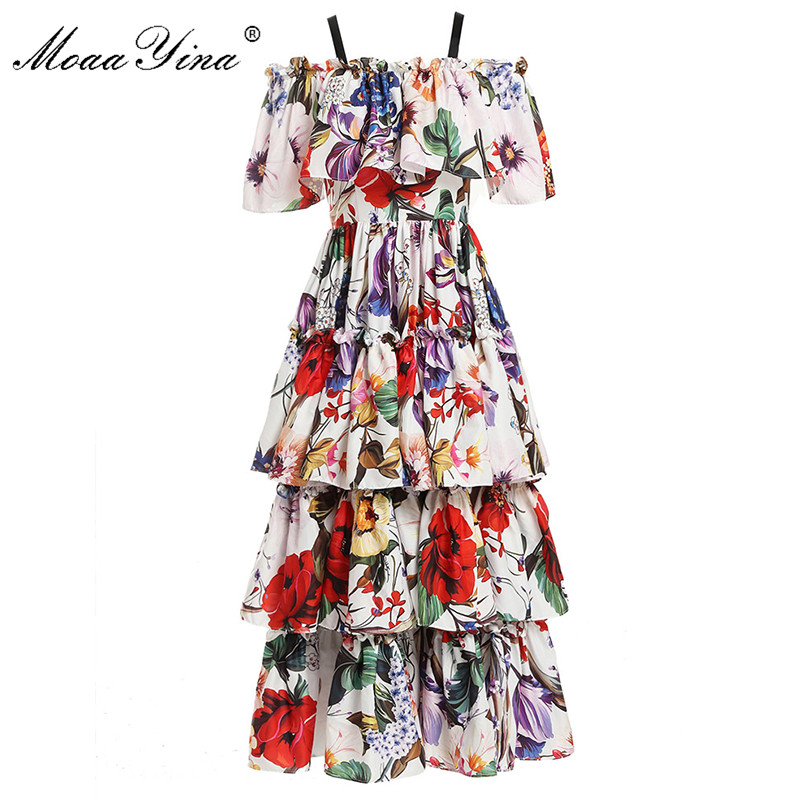MoaaYina Fashion Designer Runway dress Spring Summer Women Dress Floral Print Cascading Ruffle Holiday Dresses