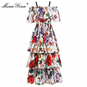 MoaaYina Fashion Designer Runway dress Spring Summer Women Dress Floral-Print Cascading Ruffle Holiday Dresses - DISCOUNT ITEM  15% OFF All Category