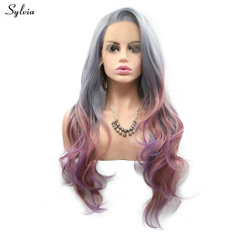 Sylvia Pastel Gray Blue Ombre Pink Purple Mixed Color Natural Hairline Side Parted Long Hair Body Wave Synthetic Lace Front Wigs