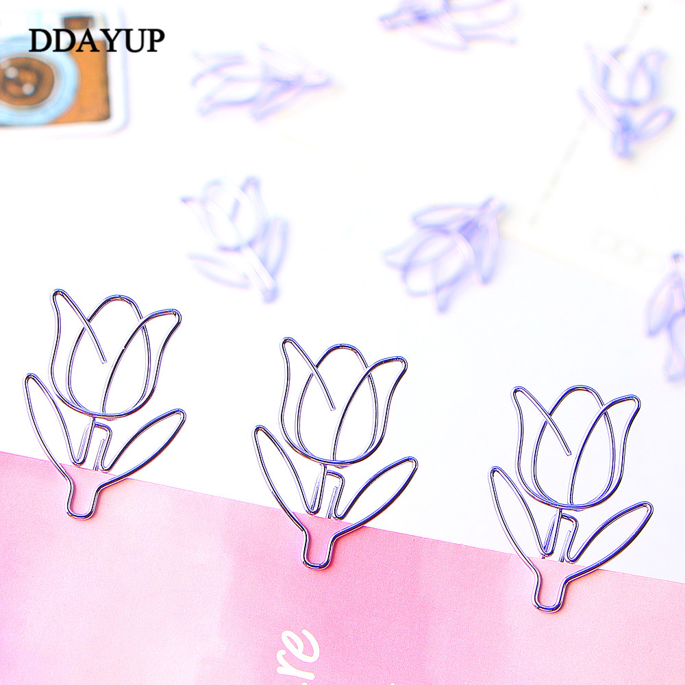 12Pcs/lot Tulip Bookmark Planner Paper Clip Material Escolar Bookmarks For Book Stationery School Supplies