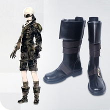 New 2017 Game Nier Automata Cosplay Shoes YoRHa 9S PU Leather Boots Black Zipper-up Size 35-44