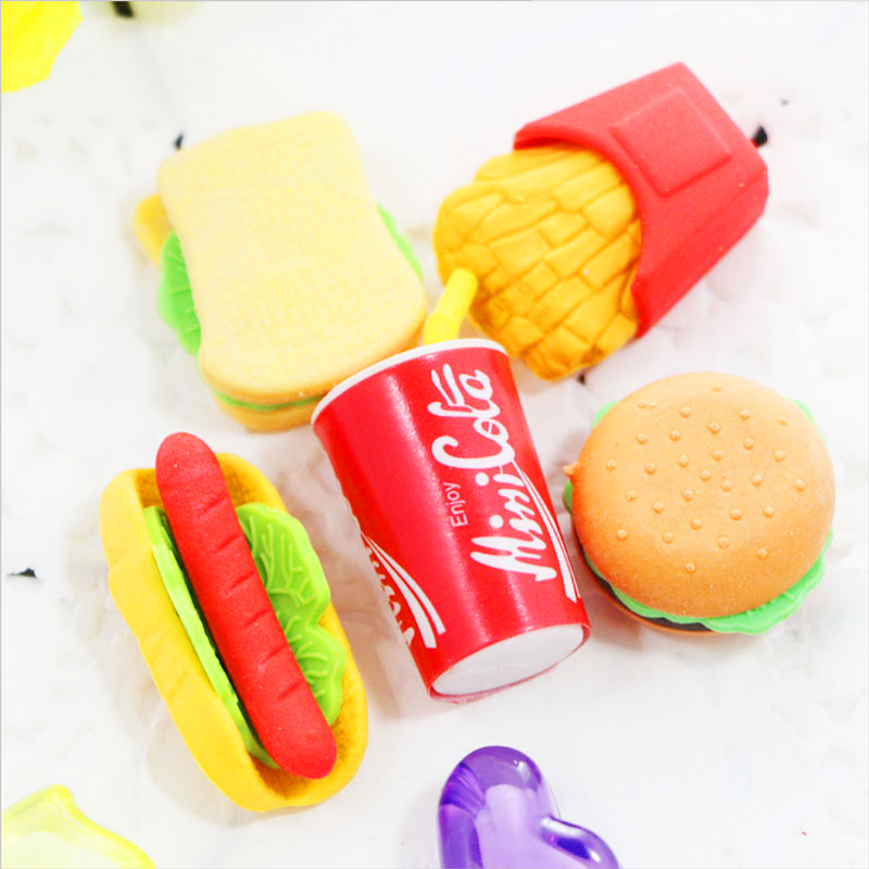 5 Pcs/lot novelty food mini eraser Cola Hamburg rubber eraser kawaii stationery school supplies papelaria gift for kids