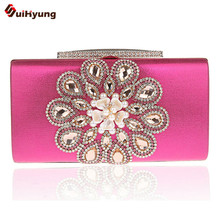New Women's Crystal Evening Bag Fashion Diamond Pearl Clutch Wedding Party Bride Bridesmaid Handbags Purse Chain Shoulder Bag