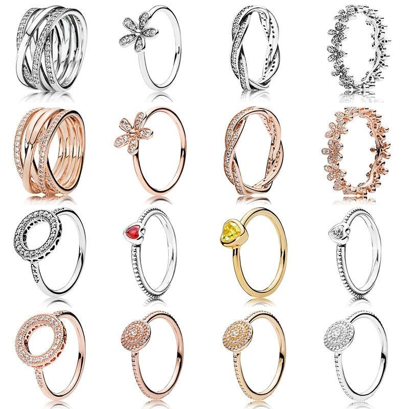 4287c40790f3 Nueva moda para mujeres 925 anillos de plata esterlina de oro rosa amor  corazón flor círculo de ...
