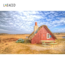 Laeacco Countryside Yellow Hay Wood House Backdrop Photography Background Customized Photographic Backdrops For Photo Studio