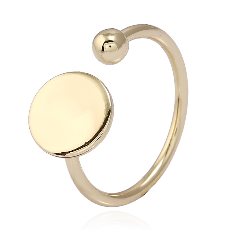 Fashion Women Big Gold Round Circular Finger Ring All Match Simple Adjustable Size Party Office Ladies Rings Jewelry