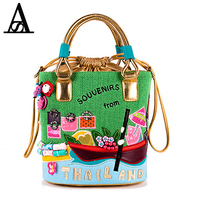 Aitesen Italian Cartoon Louis Canvas Handbags Women Famous Brands Stella Tote Bags Beach Michael Bucket Bag
