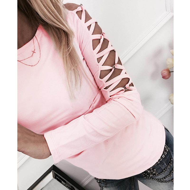 2018 New Arrivals Fashion Casual Hollow Out Arm Long Sleeve Pink Women Tshirt Sexy Low Cut Tops Sexy Ladies Kawaii
