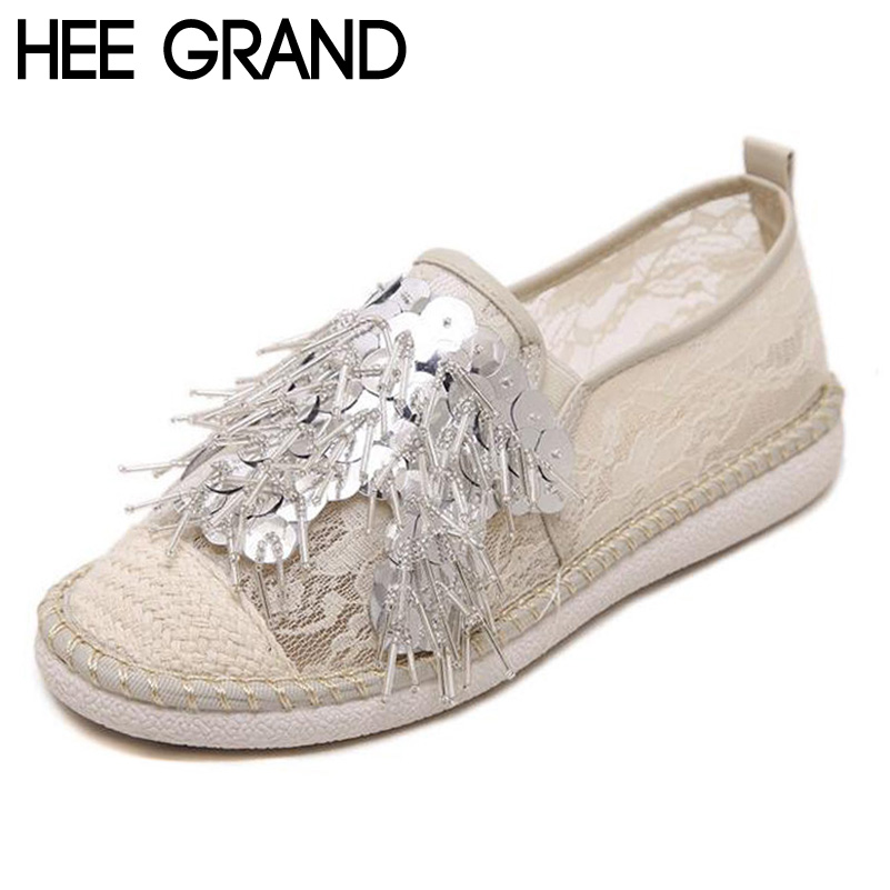 ФОТО HEE GRAND Loafers Woman Trendy Style Hemp Lace Flats Bling Bling String Bead Flat with Fashion Women's Shoes XWD5153