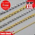 Alta calidad 24 k chapado en Oro Collar W: 2.4 ~ 6mm 76 ~ 90 cm largo de la Cadena Toque Collar de Hiphop de la manera joyería de los hombres bijouterie 2016