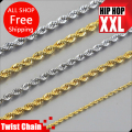 High quality 24k Gold  plated Necklace W:2.4~6mm 76~90cm long Twist Chain Fashion Hiphop Necklace men jewelry bijouterie 2016