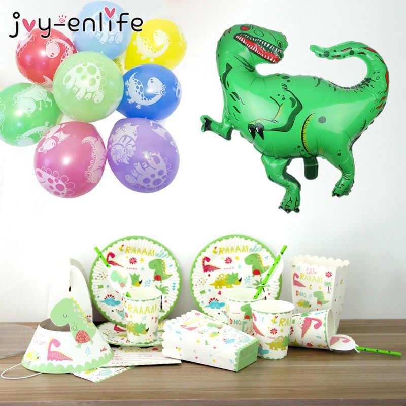Мультфильм зеленый мотив динозавра висящий баннер одноразовые, для капкейков обертка попкорн коробочка, мыльница для детей день рождения украшения